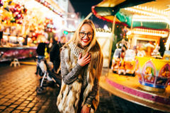 Street portrait young woman  on the festive Christmas Royalty Free Stock Photo