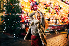 Street portrait young woman  on the festive Christmas Stock Image