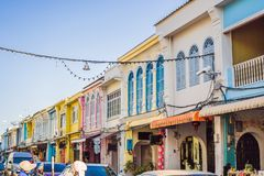Street in the Portugese style Romani in Phuket Town. Also called Chinatown or the old town royalty free stock photography