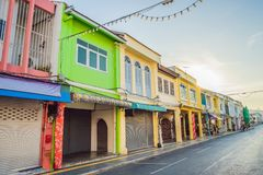 Street in the Portugese style Romani in Phuket Town. Also called Chinatown or the old town royalty free stock image