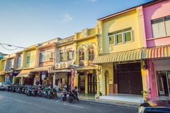 Street in the Portugese style Romani in Phuket Town. Also called Chinatown or the old town stock photography