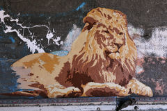 Street Poster Art of a Lion Royalty Free Stock Photography