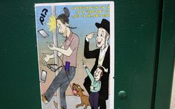 A street poster in Jewish neighbourhood in Brooklyn. New York, United States - 3 September 2016 - a street poster in Jewish neighbourhood in Brooklyn, New York Royalty Free Stock Photography
