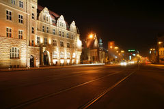 Street in Poznan by night Royalty Free Stock Image