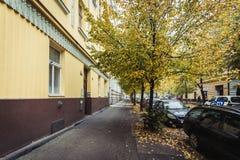 Street of Prague in Autumn Morning, Czech Republic Stock Image
