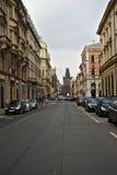Street in Prague in the background Powder Gate Stock Photo