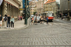 Street in Prague. City view of a central street of Prague stock image