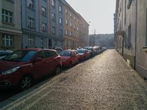 Street in Prague on a cloudy day royalty free stock photo