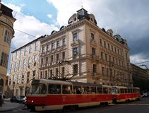 Street of Prague,Europe. A tram in a street of Prague,middle Europe Royalty Free Stock Photos