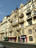 Street in Prague 13. Prague, an exceptional tourist destination. Beautiful buildings and monuments in the city center. Old Town with the city and houses sec. XIX stock image