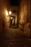 Empty paved street of Prague by night Stock Image
