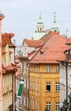 Street of Prague. A view of Prague, Czech Republic. Bright houses, street view Royalty Free Stock Photos
