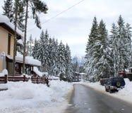Street in Predeal in winter - Brasov, Romania Stock Photo