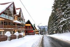 Street in Predeal in winter - Brasov, Romania Royalty Free Stock Image