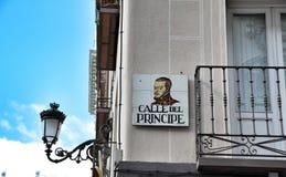 Street of Principe (Calle del Principe) in Madrid, Spain Royalty Free Stock Images