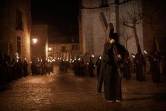 Street procession with torches Stock Photos