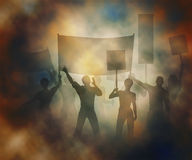 Street protest. Editable vector illustration of people protesting in a smoky atmosphere created using gradient meshes Royalty Free Stock Images