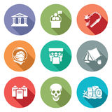 Street protests and the Presidents address Icons Set. Vector Illustration. Royalty Free Stock Photos