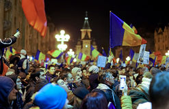 Street protests in Romania. Timisoara. 20.000 people demonstrate and protest against controversial decrees to pardon corrupt politicians and decriminalize Stock Images