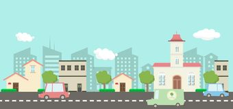 Street in public park with nature landscape and car , building. Background vector illustration.Main street scene vector.City street with sky background royalty free illustration