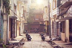 Street in Puducherry. Puducherry, INDIA - January 27: Street with motorbikes and scooters in French part of Puducherry, also known as Pondicherry, on January 27 Stock Image