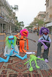 Street puppets. A Band of puppets resting after proformance, Tel Aviv stock images