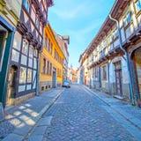 Street in Quedlinburg stock images