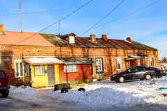 BOROVSK, RUSSIA - NOVEMBER 2016: Street `Rabochaya` in Borovsk stock photo