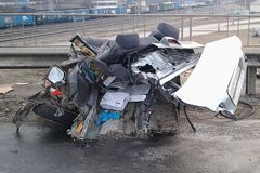 Street racer tore his car apart. The culprit car accident. The car tore apart. Some parts are hard to find, they are scattered far royalty free stock image