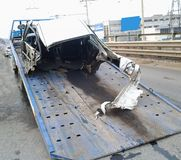 Street racer tore his car apart. The culprit car accident. The car tore apart. Some parts are hard to find, they are scattered far stock image