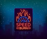 Street racing billboard logo emblem template vector logo in neon style. A glowing sign on the theme of the races. Neon. Sign, light banner Stock Photo