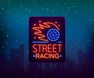 Street racing billboard logo emblem template vector logo in neon style. A glowing sign on the theme of the races. Neon. Sign, light banner Royalty Free Stock Photos