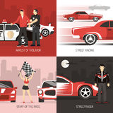 Street Racing Cocept 4 Flat Icons Stock Images