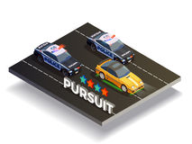 Pursuit Street Racing Composition. Street racing drift isometric composition with fast racing car and police cars being in pursuit vector illustration Royalty Free Stock Photo
