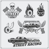 Street racing emblems, labels, badges and design elements. Vintage style. Black and white illustration Stock Images