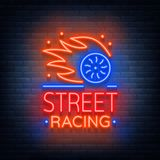 Street racing logo emblem template vector logo in neon style. A glowing sign on the theme of the races. Neon sign, light Stock Photography