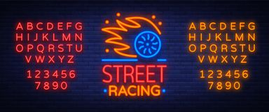 Street racing logo emblem template vector logo in neon style. A glowing sign on the theme of the races. Neon sign, light  Stock Images