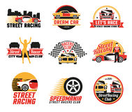 Street Racing Logo Emblems  Icons Set. Street racing clubs labels emblems collection with dream car golden girl figure and checkered flags  vector illustration Stock Image