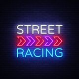 Street Racing Night Neon Logo Vector. Racing neon sign, design template, modern trend design, sports neon signboard. Night bright advertising, light banner Royalty Free Stock Photos