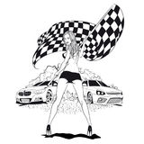 Street Racing. Sexy sport girl with starting the checkered flag. Auto Motor Racing Royalty Free Stock Images