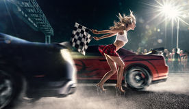 Street racing start. Night street racing start , dark light Stock Photo