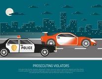 Street Racing Violation Scene Flat Poster Royalty Free Stock Image