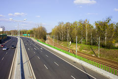 Street and Railroad Infrastructure. Motorway and railroad urban infrastructure scenery in Warsaw, Poland Royalty Free Stock Photography