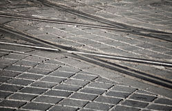 Street railway point on granite cobblestone Royalty Free Stock Images