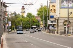 Street Railway Station in Burgas, Bulgaria Royalty Free Stock Photos