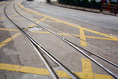 Street railway with yellow street mark Royalty Free Stock Photos