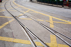 Street railway with yellow street mark Stock Image