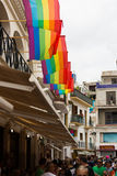 Street with rainbow flags stock photos