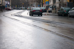 Street in a rainy day Royalty Free Stock Photography
