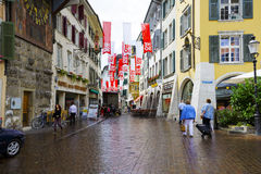 The street in a rainy day in Solothurn Royalty Free Stock Images